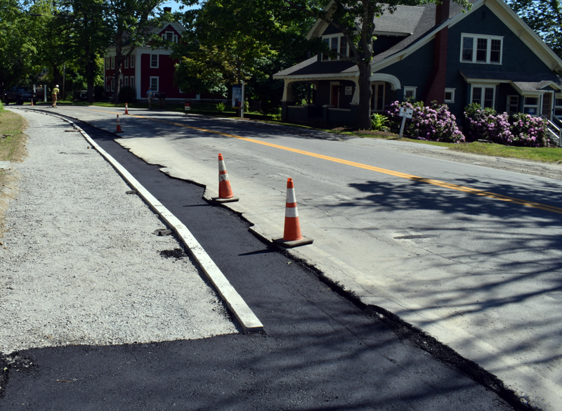 After delays, paving began on the Bristol Road sidewalk project in Damariscotta on Tuesday, June 16. The on-site inspector for the town estimates that the project will be complete by Friday, June 26. (Evan Houk photo)