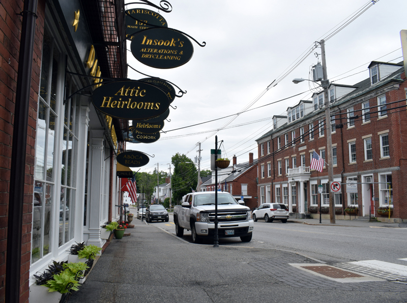 An open-air market on Main Street in Damariscotta will make use of parking spaces on one side of the street, beginning at Damariscotta Center. The market will take place on Saturdays starting June 13. (Evan Houk photo)
