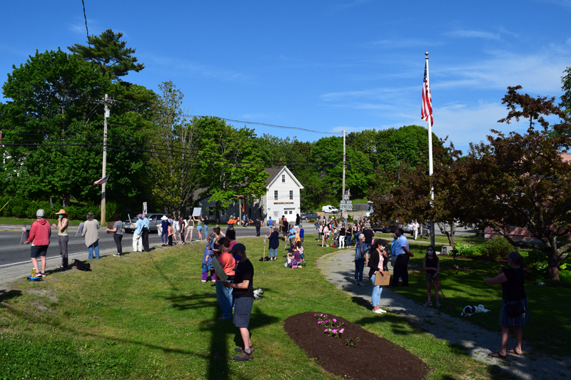 A protest against racism and police violence in Veterans Memorial Park, Newcastle, Thursday, June 4. About 70 gathered for the event organized by Stacey Simpson, of Damariscotta. (Hailey Bryant photo)