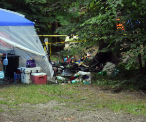 """A fire in a tent at Duck Puddle Campground in Nobleboro did not spread to three nearby tents or the woods around the tent, according to Nobleboro Fire Chief Richard """"Moose"""" Genthner. (Alexander Violo photo)"""
