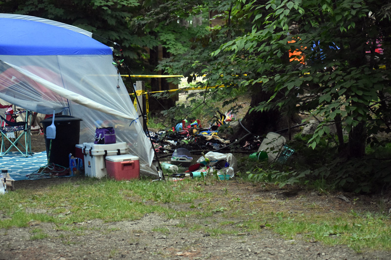 "A fire in a tent at Duck Puddle Campground in Nobleboro did not spread to three nearby tents or the woods around the tent, according to Nobleboro Fire Chief Richard ""Moose"" Genthner. (Alexander Violo photo)"