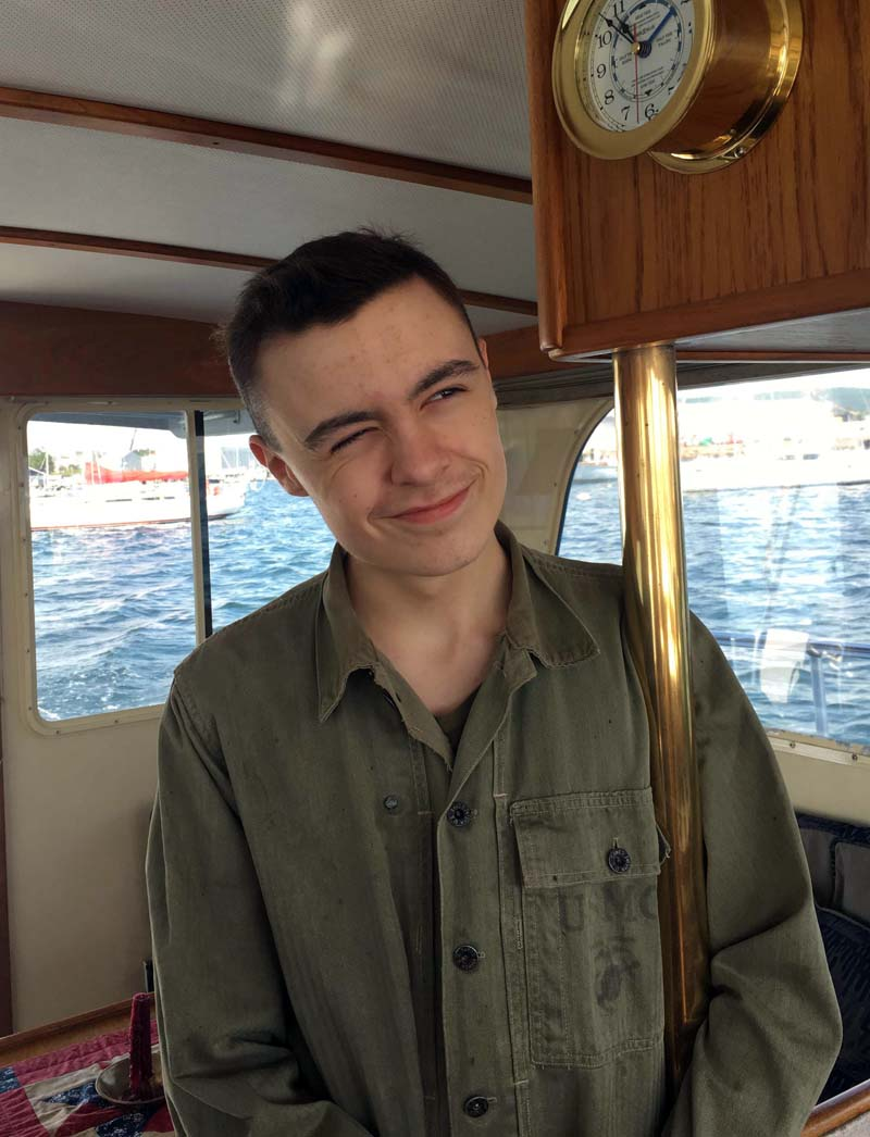 Connor McLean on his grandfather's boat in 2017. (Photo courtesy Elizabeth MacKenney)