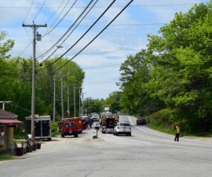 Emergency services respond to a fatal two-vehicle crash on Route 1 in Wiscasset, Wednesday, June 3. Thomas Sikes, 71, of Edgecomb, died in the crash. (Hailey Bryant photo)