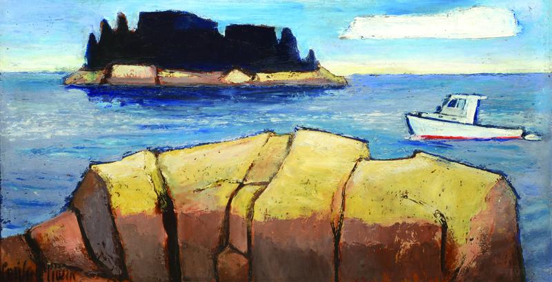 """Emily Muir, """"Fox Island,"""" oil on board"""