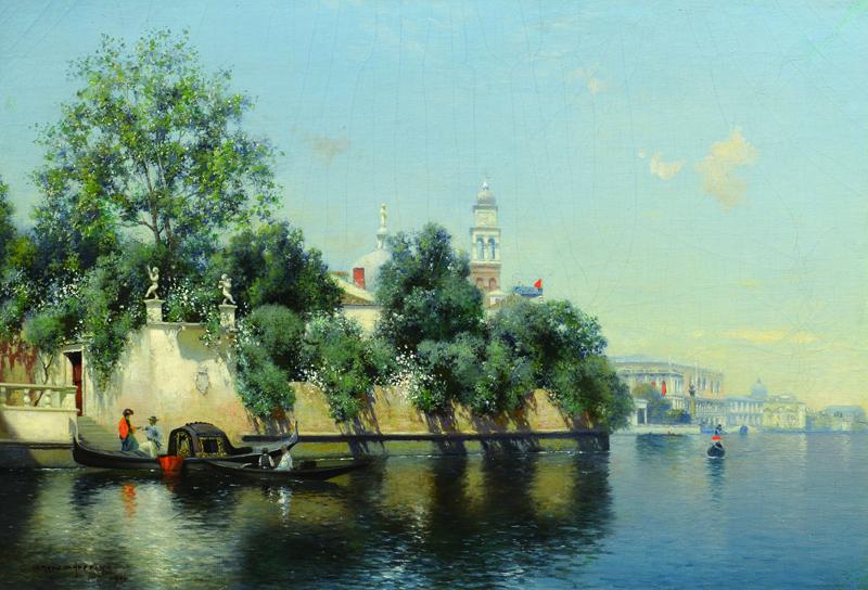 """Warren W. Sheppard, """"Venice,"""" oil on canvas"""
