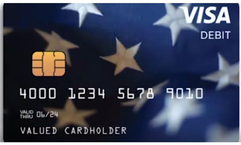A sample economic impact payment debit card.