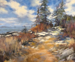 "Lyn Asselta's pastel on paper, ""As We Wait for Summer,"" depicts coastal Maine beauty."