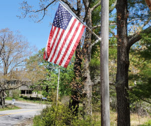 The flags were up in Round Pond in time for Memorial Day.
