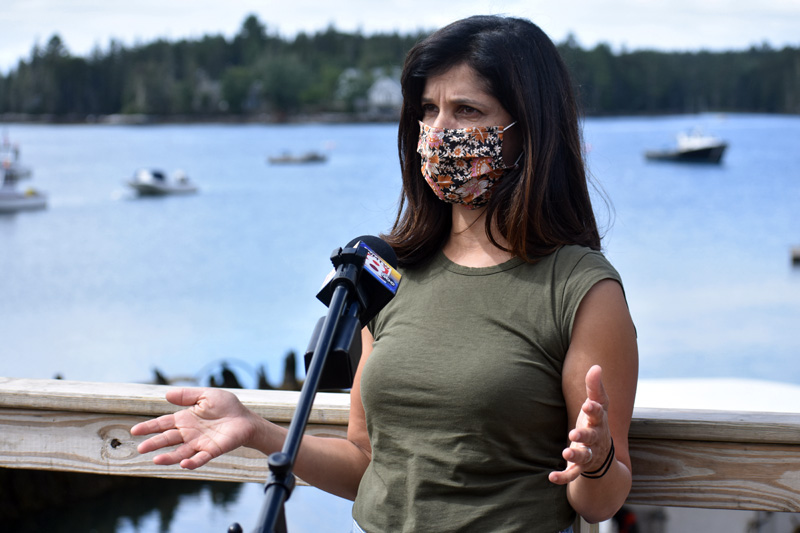 Sara Gideon, Democratic candidate for U.S. Senate, kicks off her general election campaign on the Bremen waterfront, Wednesday, July 15. (Alexander Violo photo)