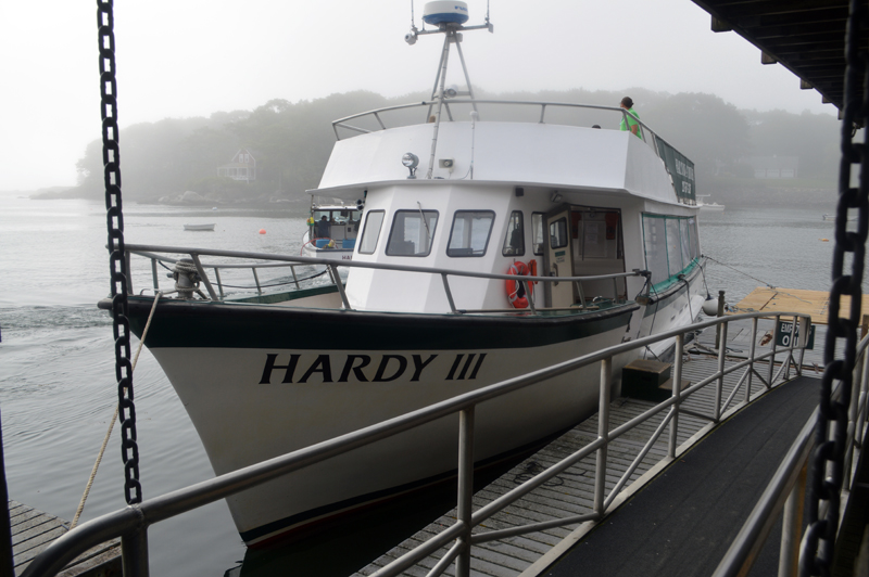 The Hardy III awaits passengers for ferry service to Monhegan at the dock in New Harbor on a foggy morning. The ecotourism and ferry business Hardy Boat Cruises won the Govenor's Award for Tourism Excellence in late June. (Alyce McFadden photo)