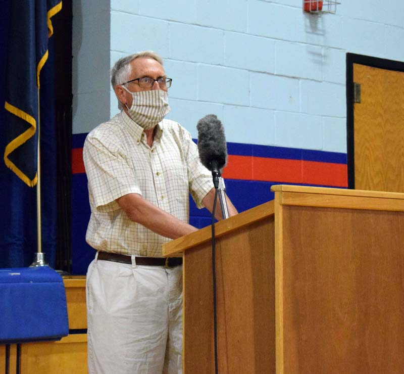 George Parker, a longtime town official and volunteer in Damariscotta, addresses annual town meeting after receiving the Spirit of America Award on Wednesday, July 15. (Evan Houk photo)