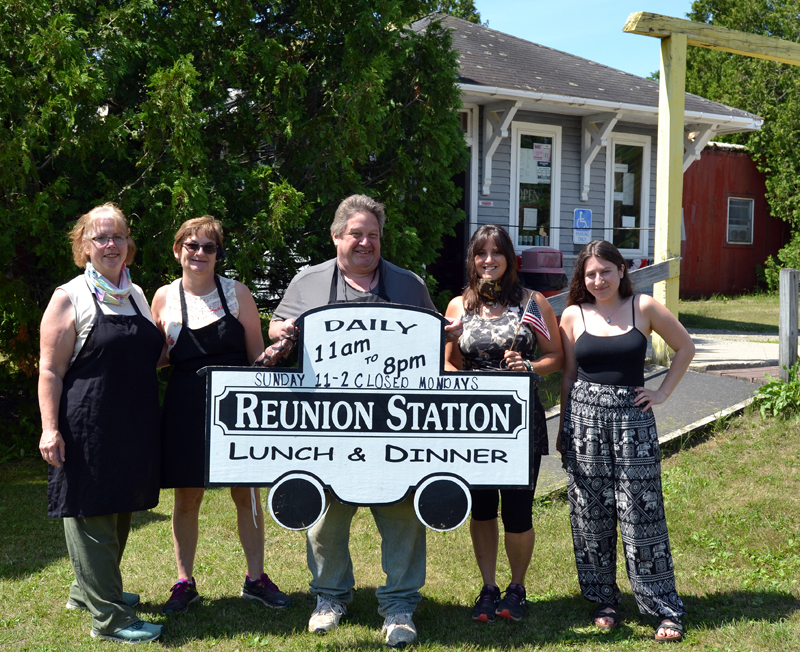 From left: Betty Fitzpatrick, Sharlene and Dale Feltis, Linda Bailey, and Kelsey Briggs are ready to welcome customers back for indoor dining at Reunion Station in Damariscotta.