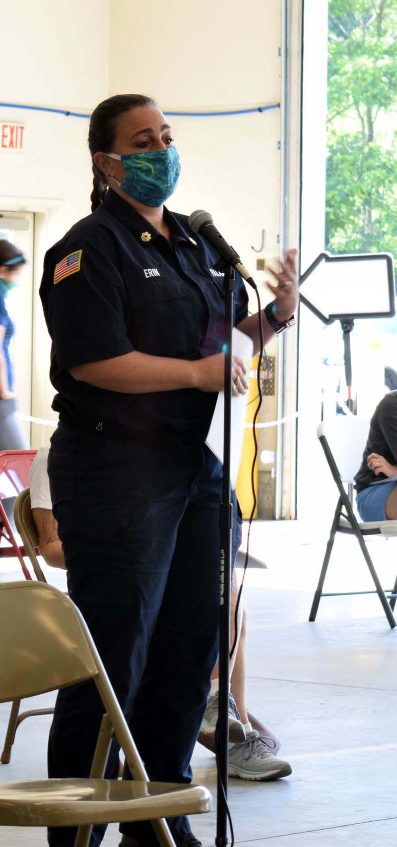 Erin Bean, deputy director of the Wiscasset Ambulance Service, explains the increase in Dresden's price for the service at Dresden's annual town meeting on Saturday, July 18. (Evan Houk photo)