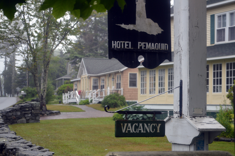 A vacancy sign hangs outside Hotel Pemaquid. The hotel is usually between half and two-thirds full at this point in its season; right now, only three units are in use. (Alyce McFadden photo)