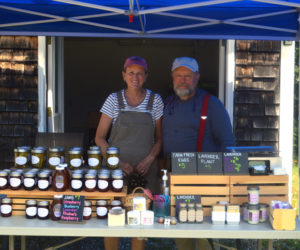 Marcia and Don Lyons sell soaps, jams, honey, and other wares at their SeaLyon Farm in Alna on Maine Open Farm Day, Sunday, July 26. (Alyce McFadden photo)