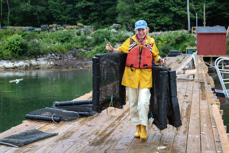 Essie Martin carries oyster cages on a wharf in Bremen. The Newcastle resident plans to earn a master's degree in aquaculture, then pursue a doctorate in oceanography. (Photo courtesy Essie Martin)