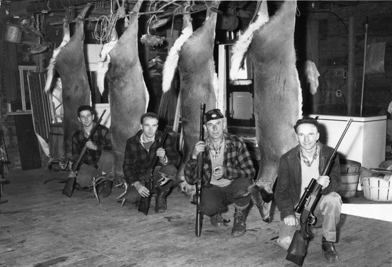 The Weston family after a successful hunting trip in 1951. From left: Donald E. Weston Jr., Lawrence E. Weston, George B. Weston, and George N. Weston. George B. Weston was the father of George N. Weston, of Nobleboro, who celebrated his 100th birthday Friday, June 26. (Photo courtesy Mary Sheldon)