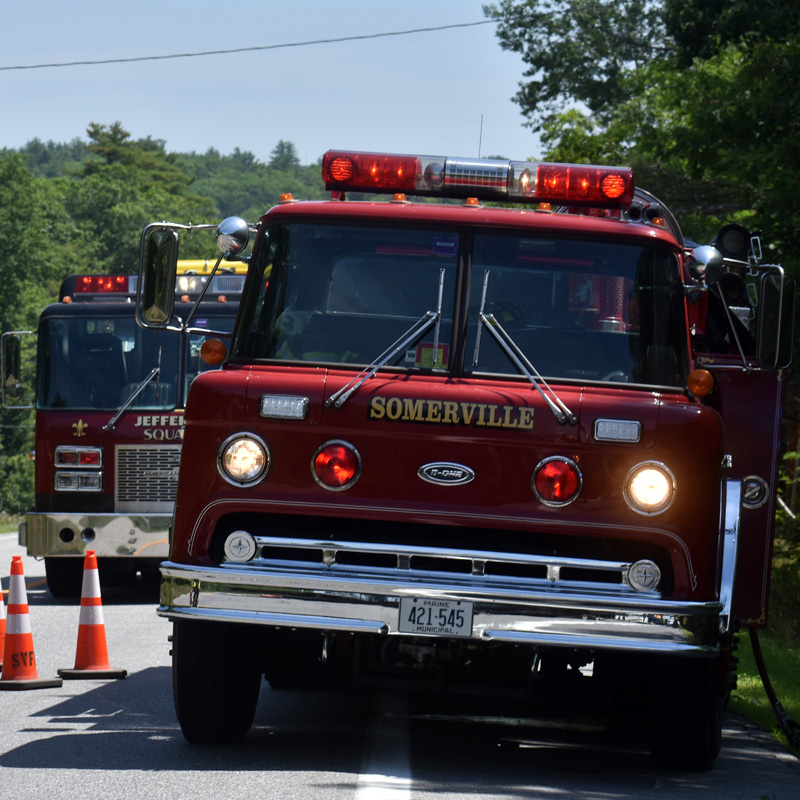 Fire trucks from Somerville and Jefferson at the scene of a rollover on Route 17 in Somerville, near the town line with Jefferson. (Alexander Violo photo)