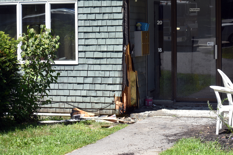 Damage from a fire at Waldoborough Village Apartments on Wednesday, July 29. A resident of the low-income housing complex snuffed out the flames with a fire extinguisher. (Alexander Violo photo)