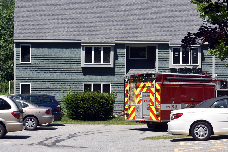 A Waldoboro fire truck stands by at Waldoborough Village Apartments on Wednesday, July 29. (Alexander Violo photo)