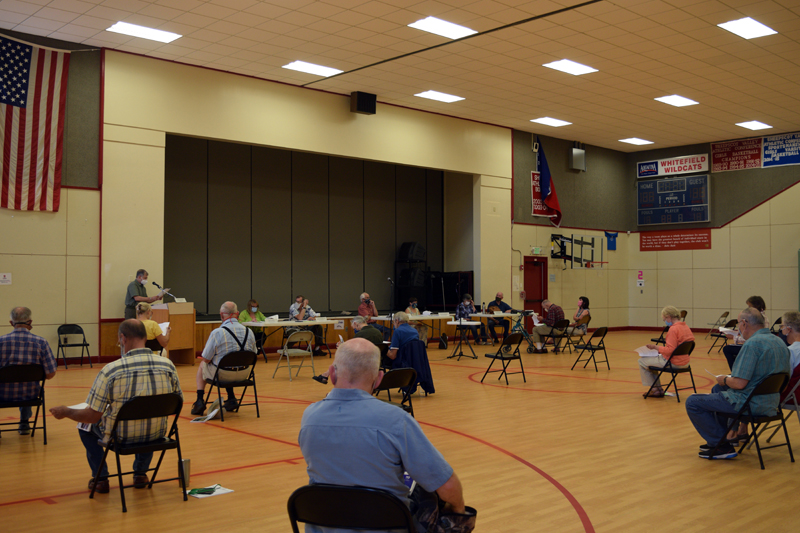 Whitefield holds a physically distant annual town meeting in the elementary school gym Saturday, July 18, (Hailey Bryant photo)