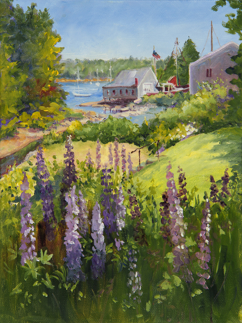 """Round Pond Lupine,"" oil on canvas, by Jan Kilburn."