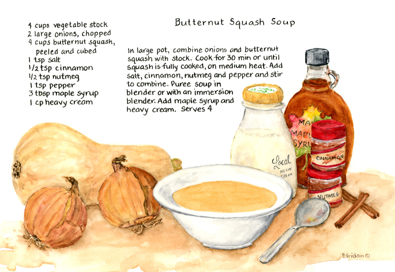 Brenda Erickson specializes in the illustration of family recipes, like this butternut squash soup.