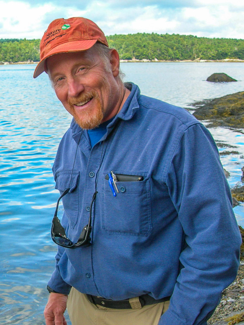 Dr. Robert Steneck explores the shores of the Damariscotta River. He will provide a webinar on climate impacts to the lobster industry on July 10.