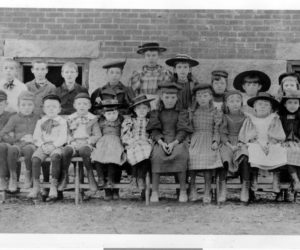 Damariscotta schoolchildren in the 1890s. Front from left: Lewis Hatch, Hampton Barstow, Lawrence Taylor, Harold Castner, Marion Dunbar, Helen Snow, Winnie Barstow, Lillian Cotter, Mabel Cotter, Mildred Hiscock, and Elsie Hoffman. Back from left: Rufus Stetson, Charles Pendleton, Frank Cotter, Georgia Chapman, Edith Emerson, Gladys Ramsdell, Mytie Hiscock, Mary Flint, and Edna Cotter. (Photo courtesy Calvin Dodge)