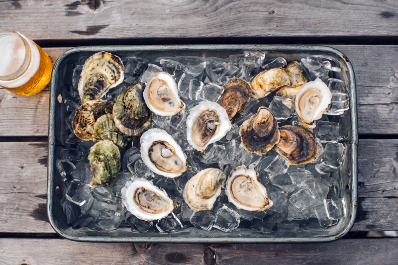 """Shuck-your-own"" oysters are available at Glidden Point Oyster Farms."