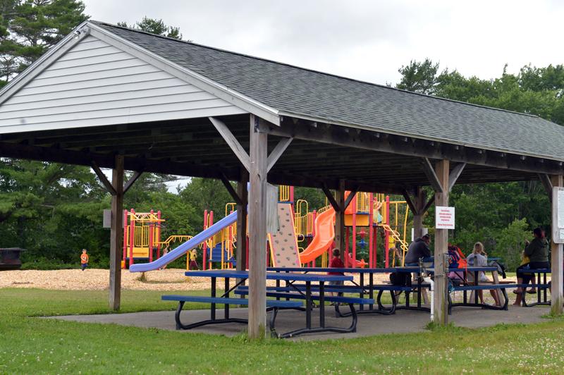 The Wiscasset Community Playground pavilion with playground behind. (Paula Roberts photo)