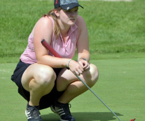 Bailey Plourde lines up her putt on 18 on day two of the Maine Women's Amateur golf championship. (Paula Roberts photo)