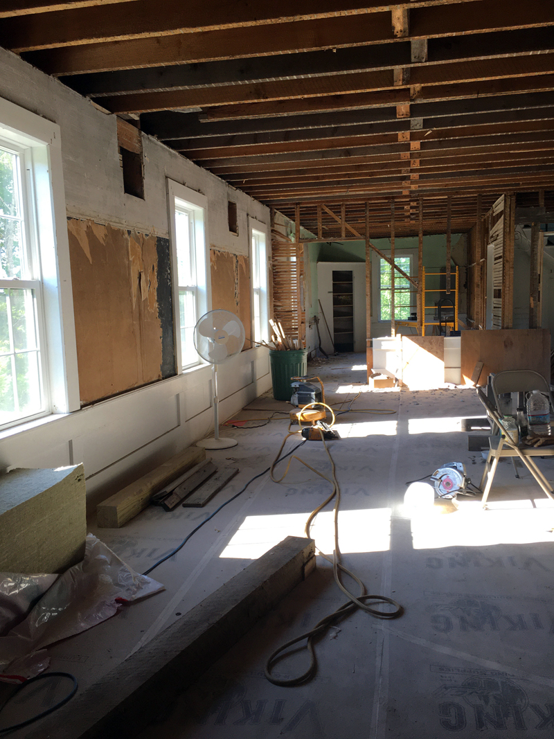 The interior of the building is stripped to its core for renovations.