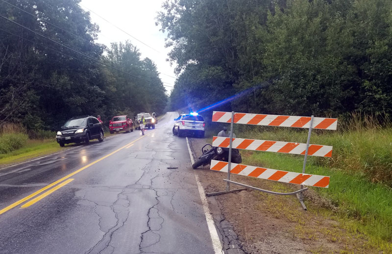 Emergency services respond to a fatal motorcycle crash on Alna Road in Alna, Tuesday, Aug. 25. (Photo courtesy Lincoln County Sheriff's Office)