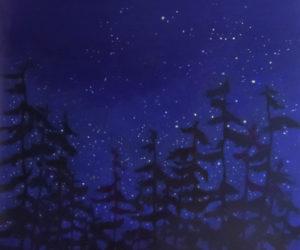 """Midnight, Hurricane Island,"" oil on Gessobord, by Sally Loughridge."