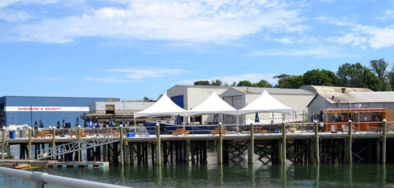A view of the new open-air dining area at Lobsterman's Wharf in East Boothbay. (Charlotte Boynton photo)