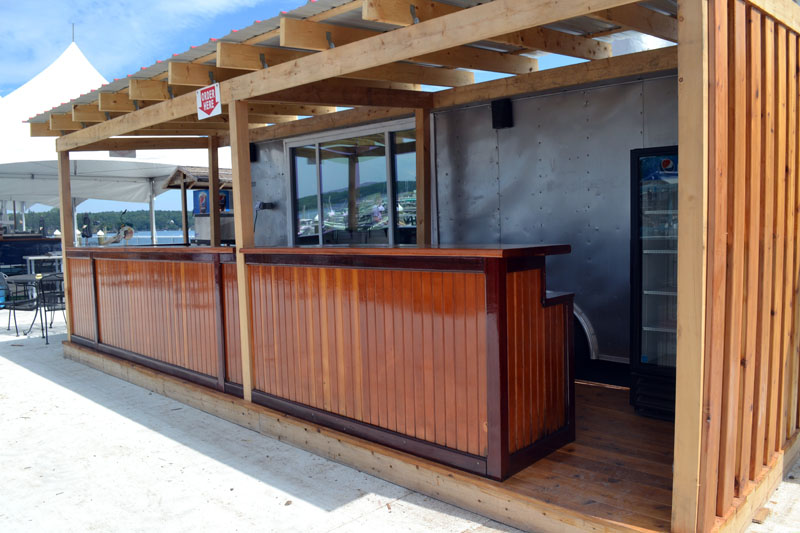The counter outside the new food truck at Lobsterman's Wharf incorporates materials from the bar of the old restaurant. (Charlotte Boynton photo)