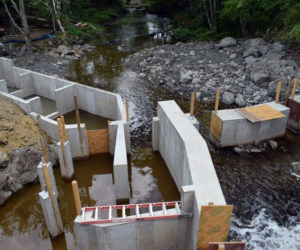 The entrance to the new pool-and-weir fish ladder below the Bristol Mills Dam on Monday, Aug. 10. Mark Becker, of Nobleboro's Becker Construction Inc., said the ladder will be complete by the beginning of winter. (Evan Houk photo)