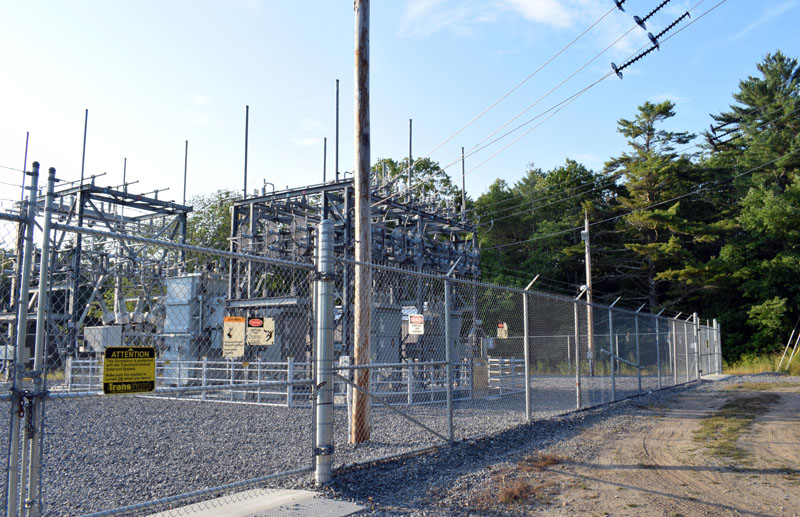 The Central Maine Power Co. substation on Bristol Road in Bristol, where up to three new solar farms would tie into the power grid if approved. The Bristol Planning Board will hear a presentation from the company behind two of the proposed farms Thursday, Aug. 20. (Evan Houk photo)