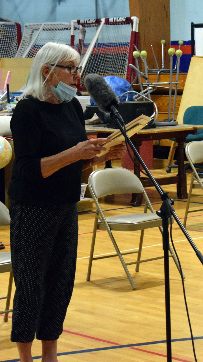 Valerie Seaberg, of 161 Elm St. in Damariscotta, speaks at a public hearing about the town's historic preservation ordinance on Wednesday, Aug. 19. (Evan Houk photo)