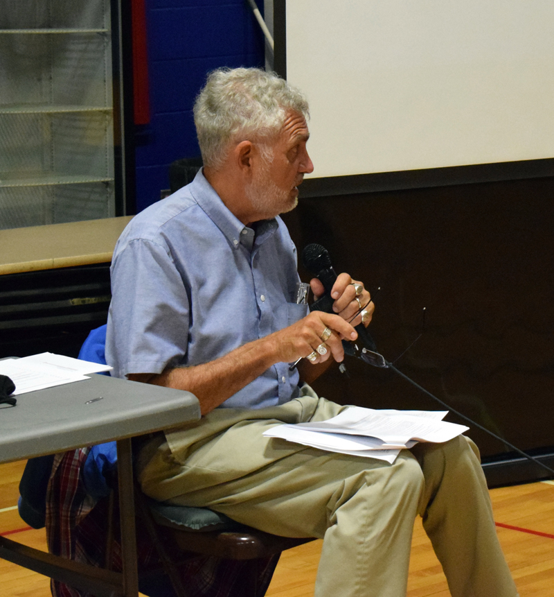 Damariscotta Town Planner Bob Faunce outlines changes to the town's historic preservation ordinance at a public hearing on Wednesday, Aug. 19. (Evan Houk photo)