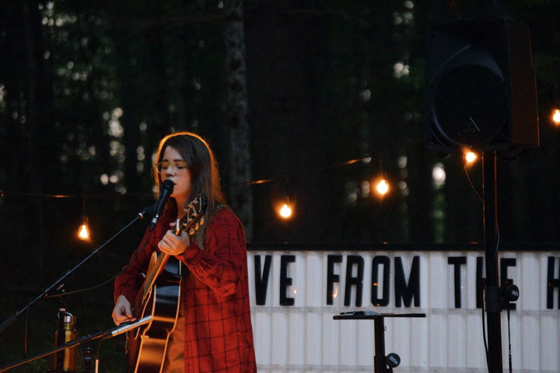 """Lady Lamb, aka Aly Spaltro, performs the first show of her """"Live From the Hive"""" series at her home in Edgecomb on Saturday, Aug. 21. (Hailey Bryant photo)"""