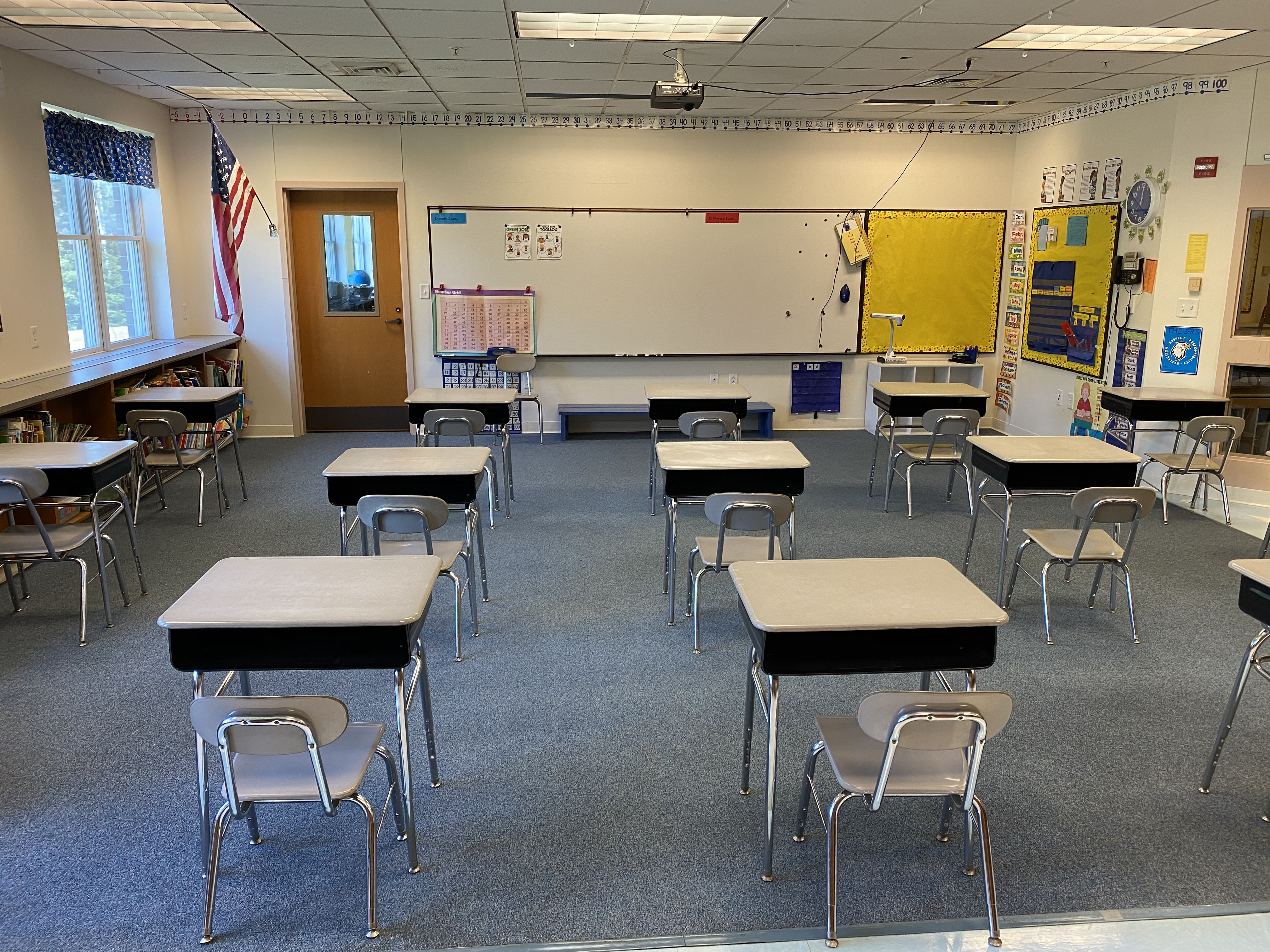 Physical distancing between desks in a classroom at Edgecomb Eddy School. The school will begin the year with in-person instruction four days a week and remote instruction on Wednesday. (Photo courtesy Ira Michaud)