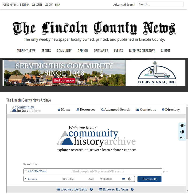 A screenshot of The Lincoln County News digital archive. The archive is available to LCN subscribers at lcnme.com/archive.