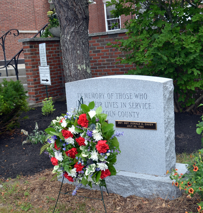 Lincoln County's new memorial to law enforcement stands outside the entrance to the county courthouse in Wiscasset. (Charlotte Boynton photo)