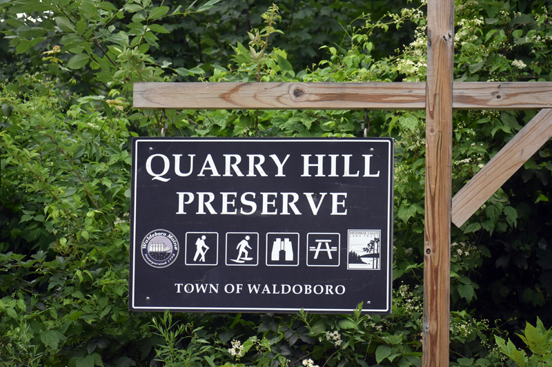 The entrance to Quarry Hill Preserve, on Depot Street in Waldoboro. (Alexander Violo photo)