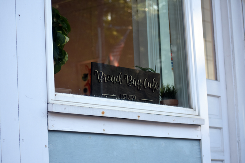 A sign in a window advertises the new Broad Bay Cafe in Waldoboro village. (Alexander Violo photo)