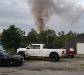 Smoke billows from a structure fire at 200 Depot Street in Waldoboro, Thursday Aug. 27. (Photo Courtesy of Michael Hyson)