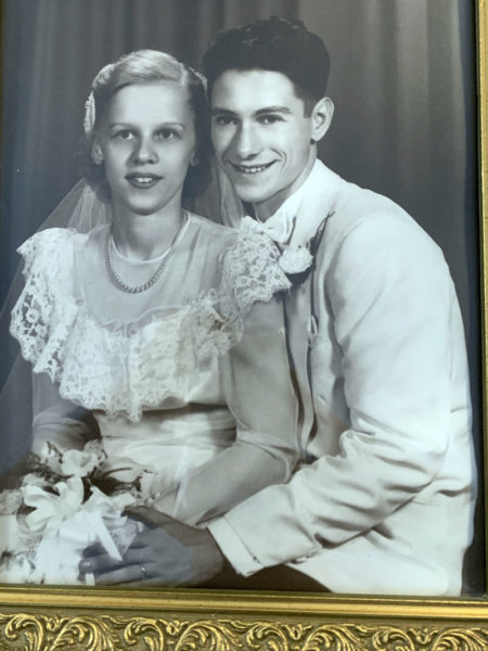 Bob and Gloria Meixell on their wedding day, Aug. 26, 1950. The couple is celebrating 70 years of marriage. (Photo courtesy Barbara Sawyer)