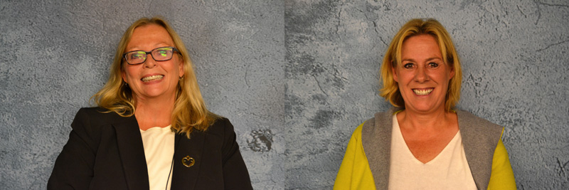 From left: state Rep. Holly Stover, D-Boothbay, and Stephanie Hawke, R-Boothbay Harbor. (Maia Zewert photos)
